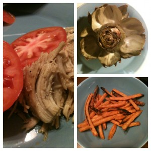 shredded chicken, artichoke & sweet potato fries