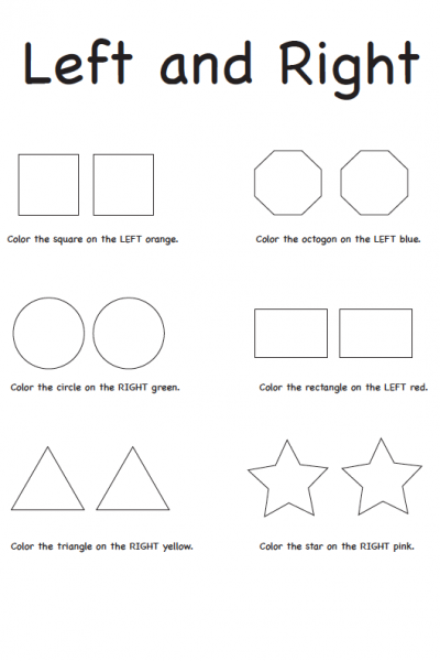 Teaching Left and Right Free Printable