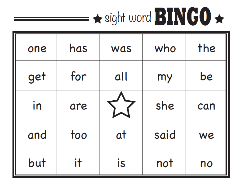 Influential image pertaining to sight word bingo printable