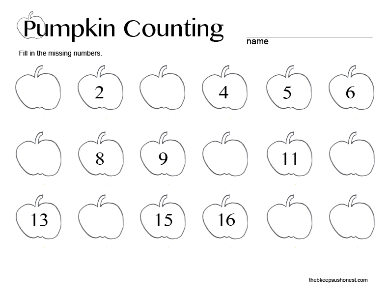 Pumpkin Counting Printable