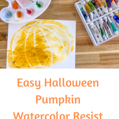 Easy Halloween Pumpkin Watercolor Resist Painting